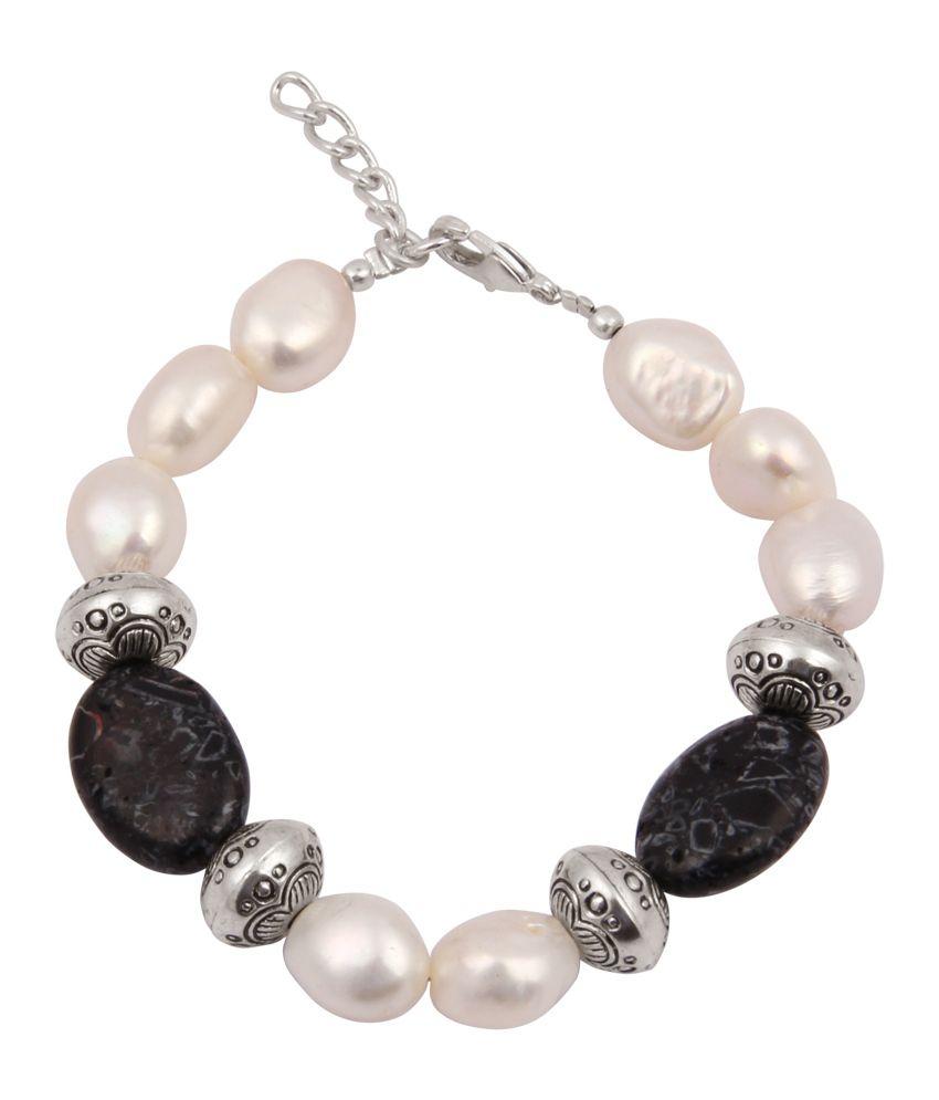 Pearlz Ocean Show Stopper Mosaic Beads & Fresh Water Pearl 7.5 Inch Bracelet