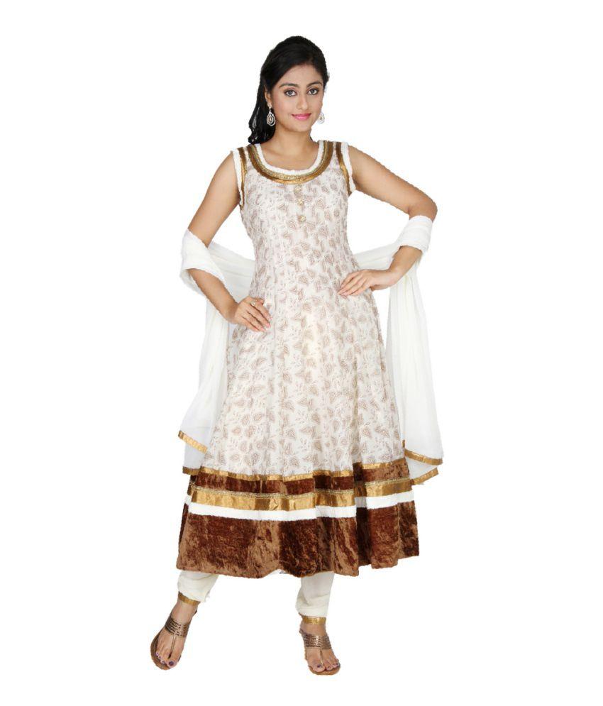 Sanskruti Creations White Printed Chanderi Stitched Anarkali Salwar Suit