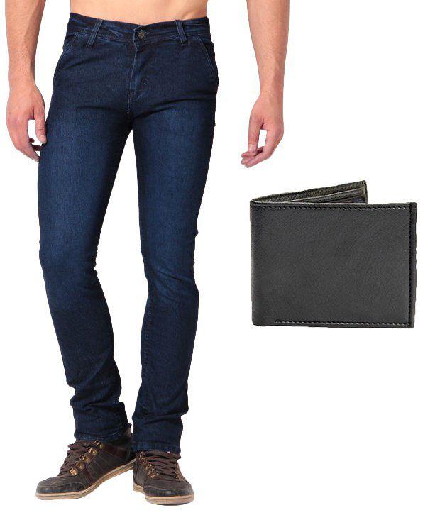 Skeeper Blue Slim Fit Jeans with   Wallet