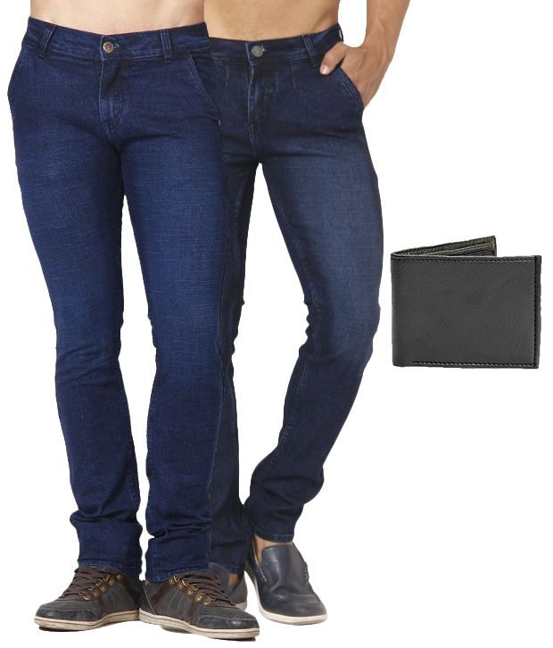 Skeeper Blue Slim Fit combo of 2   Jeans with Wallet