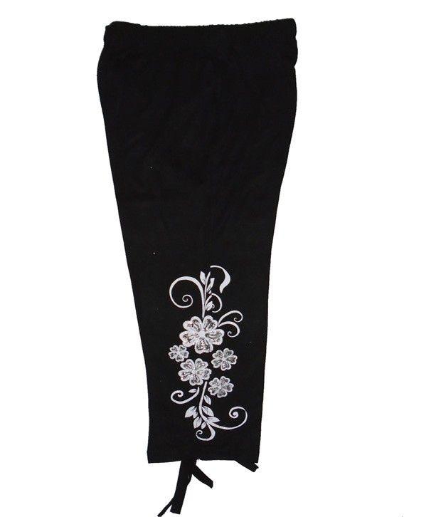 Sweet Angel Black Color 3/4 Length Flower Printed Capri For Kids