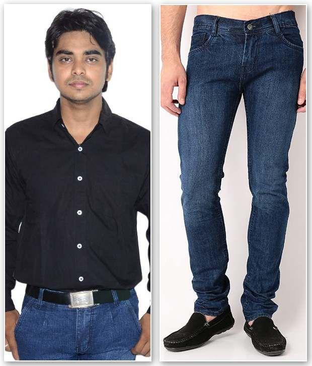 D.Coral Black & Blue Cotton Jeans & Shirt