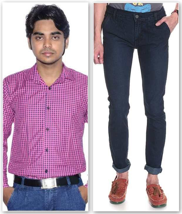 D.Coral Pink & Blue Cotton Jeans & Shirt