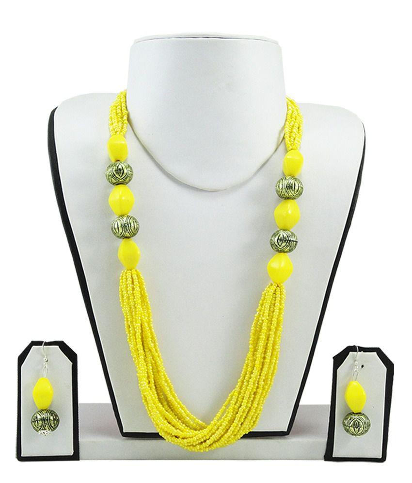 Fashionvalley Yellow Jeko Moti Antique Necklace Set