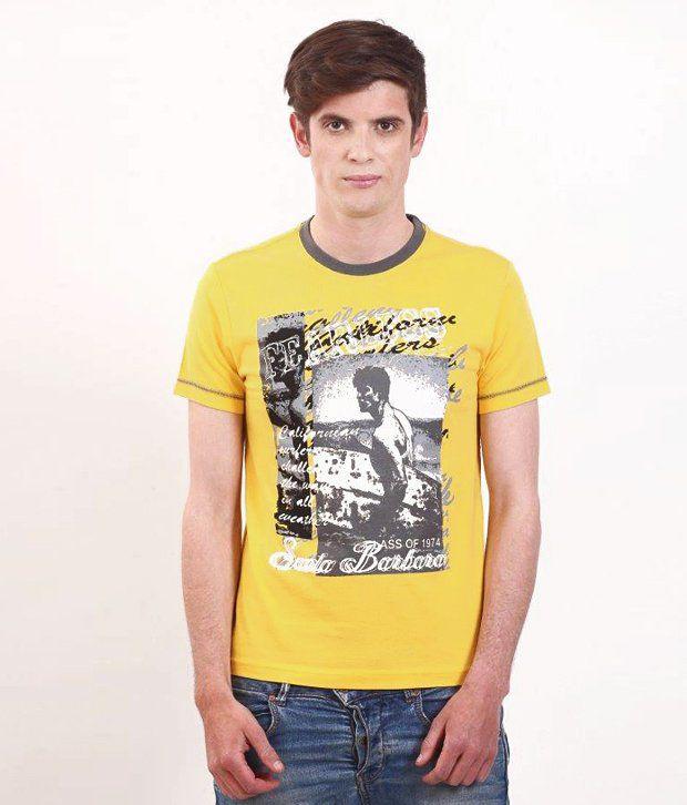 SMOKESTACK Yellow Half Cotton Round  T-Shirt