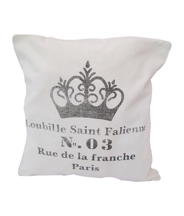 Crown Printed White Cushion Cover Set Of 05 Pcs
