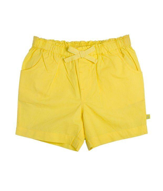 FS Mini Klub Yellow Woven Shorts For Kids