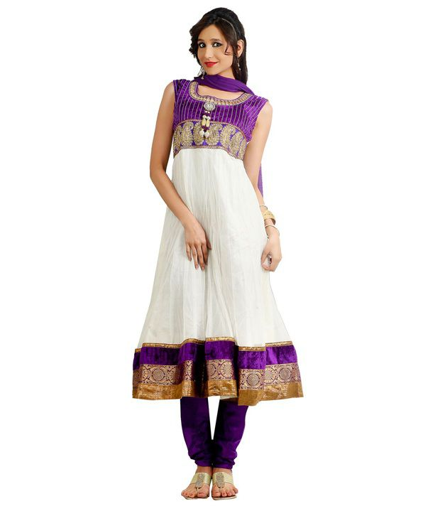 Idha White Handcrafted Net Stitched Regular Fit  Salwar Suit