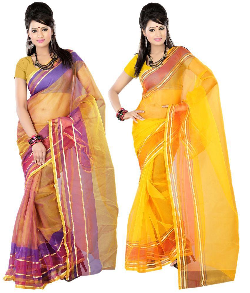 Kajal Saree Fashionable Multi-colour Faux Tissue Sarees Pack Of 2