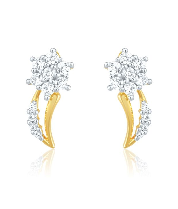 Mahi Gold Plated Stud Earrings of brass alloy with CZ for Women ER1191407G