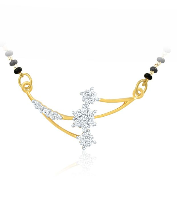 Mahi Gold Plated Mangalsutra Pendant with CZ for Women PS 1191407G