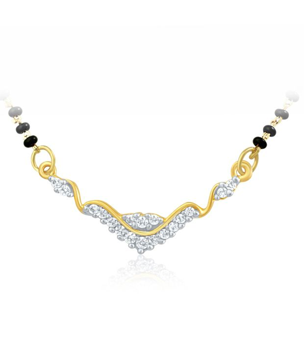 Mahi Gold Plated Mangalsutra Pendant with CZ for Women PS 1191438G