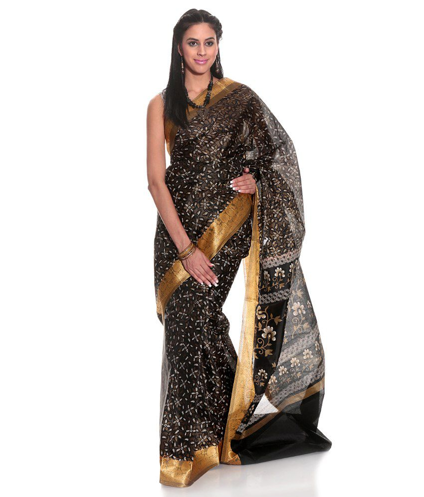 Eonn Designers Black Cotton Silk Saree
