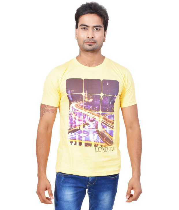 Fabulook Yellow Cotton  T-Shirt