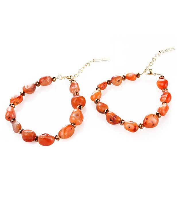 Trinketbag Natural stones anklet - Orange