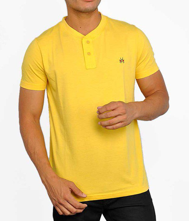 Crimsounne Club Yellow Cotton  T-Shirt