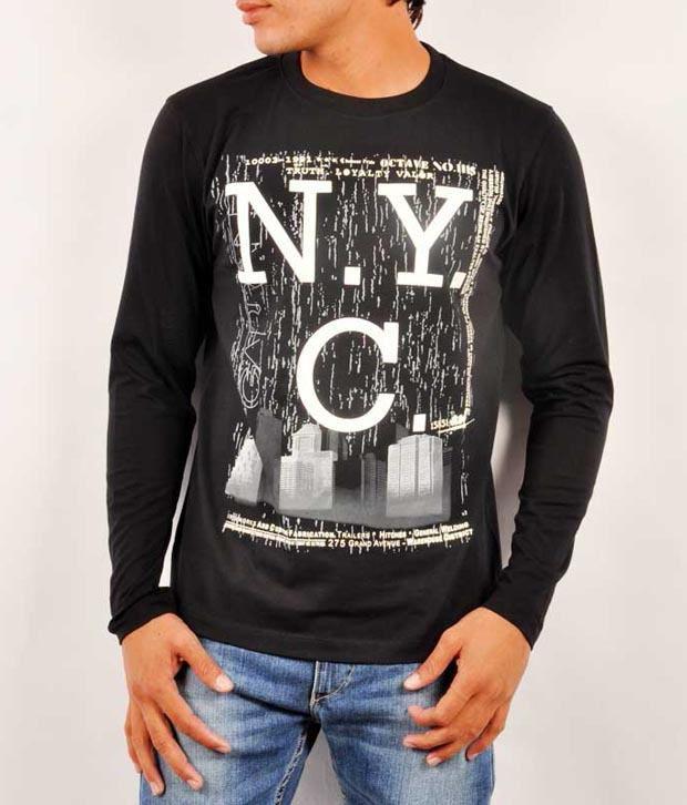 Octave Black Cotton  T-Shirt