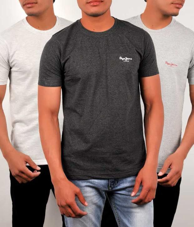 a2b7c46f8 Pepe Jeans London Multi Cotton T-Shirt(Pack of 3) - Buy Pepe Jeans London  Multi Cotton T-Shirt(Pack of 3) Online at Low Price - Snapdeal.com