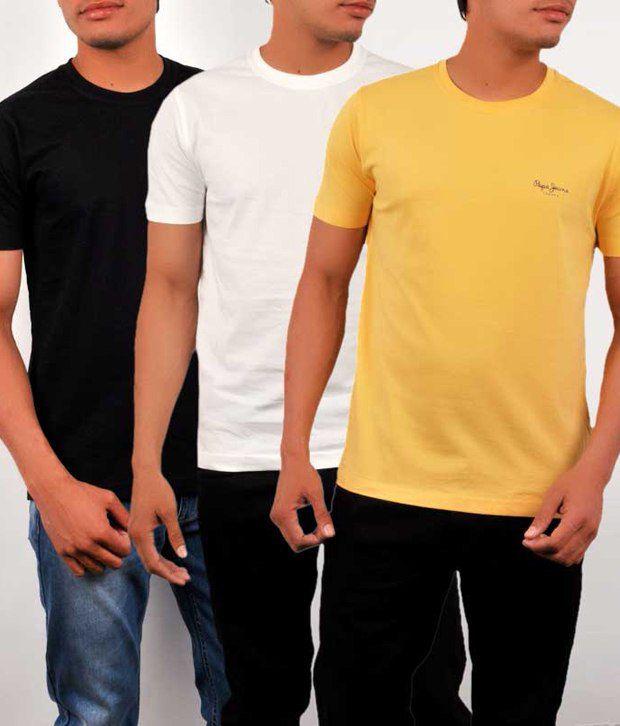 promo code cf6b1 f3e72 Pepe Jeans London Multi Cotton T-Shirt(Pack of 3)