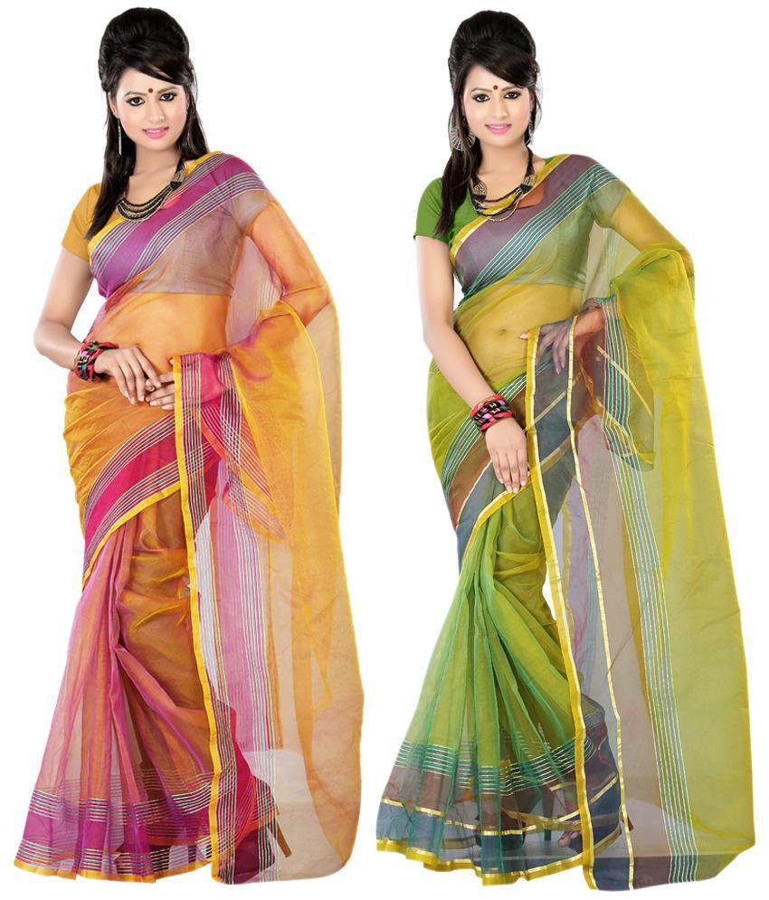 Pooja Prints Fashionable Multi-colour Faux Tissue Sarees Pack Of 2