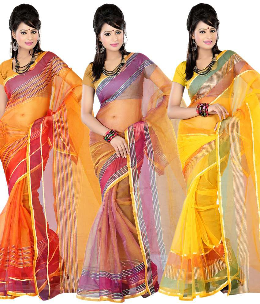 Pooja Prints Lovely Multi-colour Faux Tissue Sarees Pack Of 3