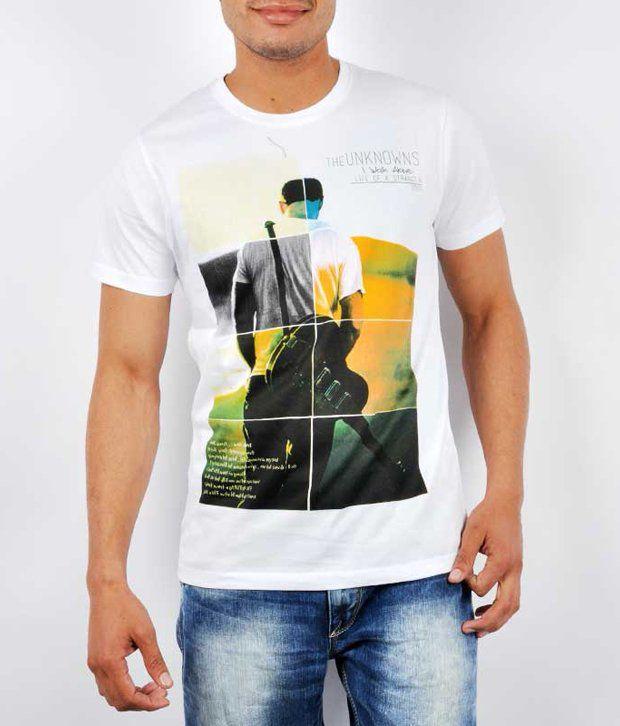 Spykar White Cotton  T-Shirt