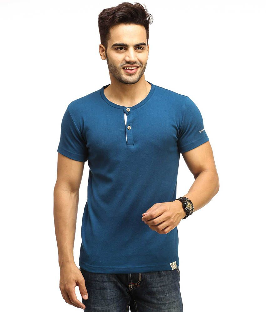 Gesture Blue Cotton  T-Shirt