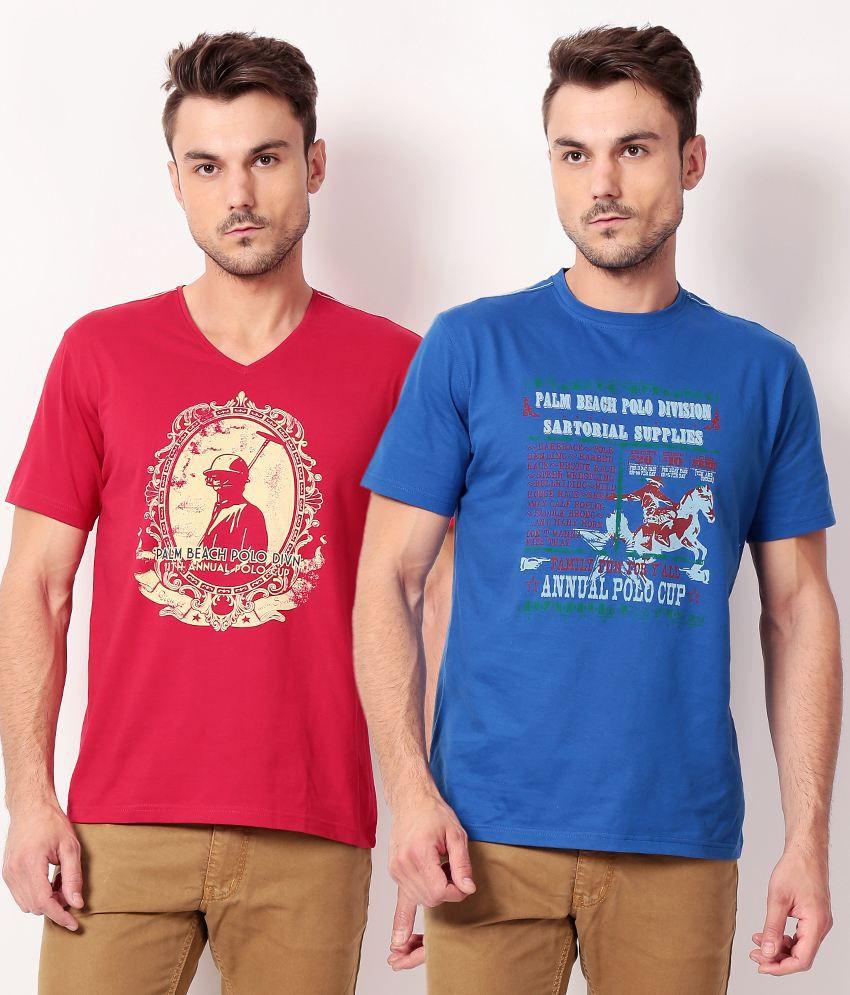 Palm Beach Blue Cotton  T-ShirtPack of 2