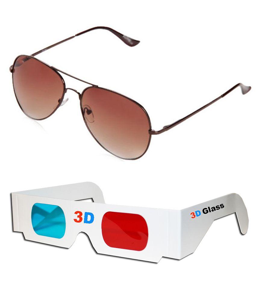 Talesara Combo Of Aviator Sunglasses + 3d Glasses - Sun4001