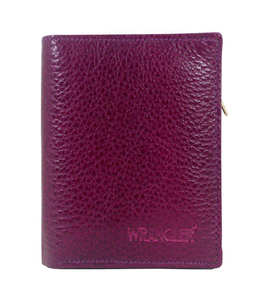 Wrangler Elegant Genuine Leather Bifold Puple Wallet For Girls/women