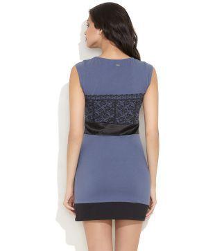 Rattrap Blue Casual Cotton Short Dresses - Buy Rattrap Blue