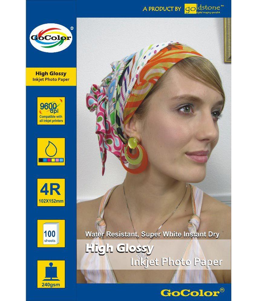 GoColor High Glossy Inkjet Photo Paper 240 GSM 100 Sheets 4R Size