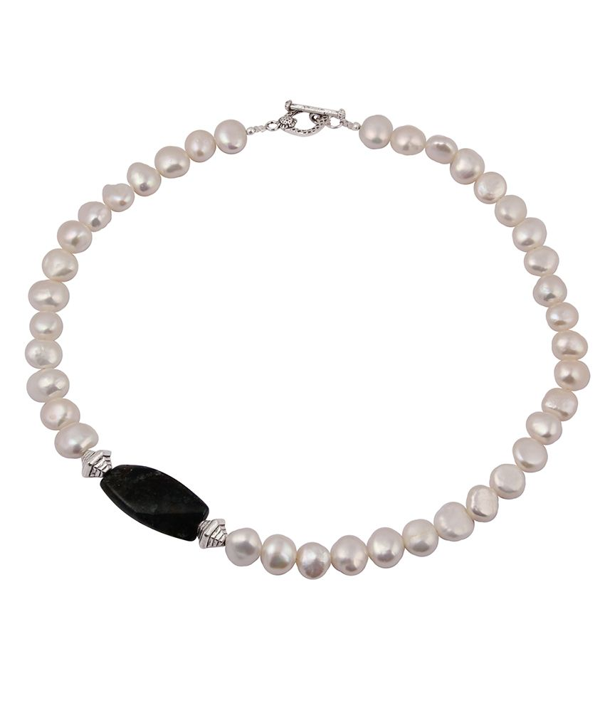 Pearlz Ocean Haute Couture Fresh Water Pearl & Jasper Gemstone Beads 18 Inches Necklace