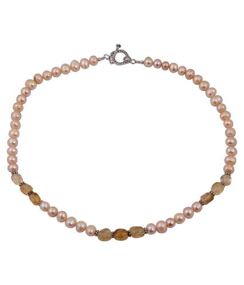 Pearlz Ocean Pastel Pearls Fresh Water Pearl & Citrine Gemstone Beads 18 Inch Necklace