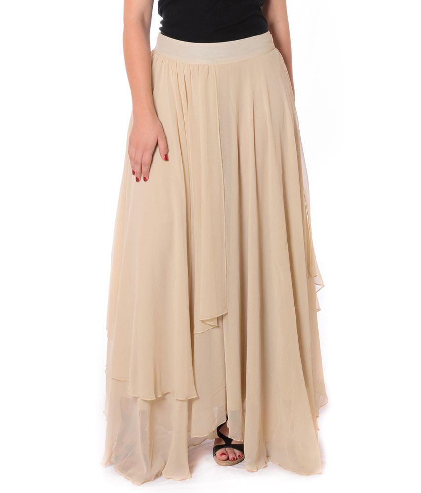 Buy Urban Religion Beige Solids Georgette Long Skirt Online at ...