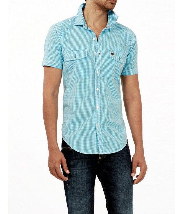 Basics 029 Aqua Checkered Shirt