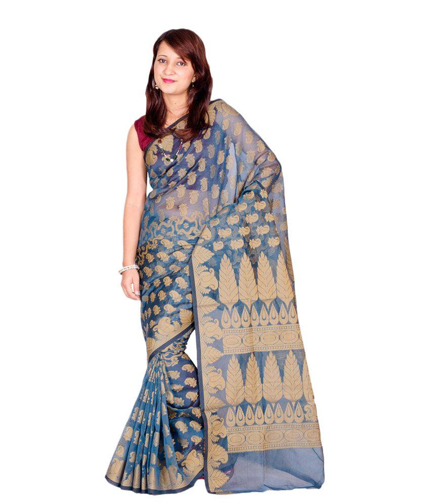 Chandrakala Blue Cotton Saree