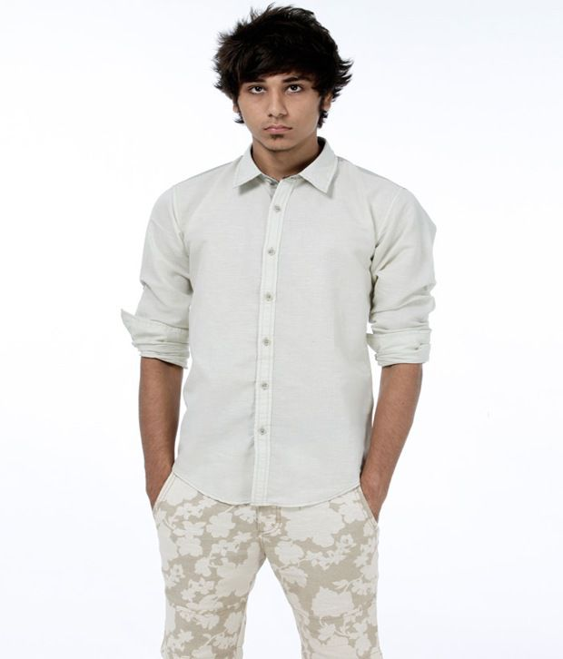 Probase Casual Light Green Solid Shirt