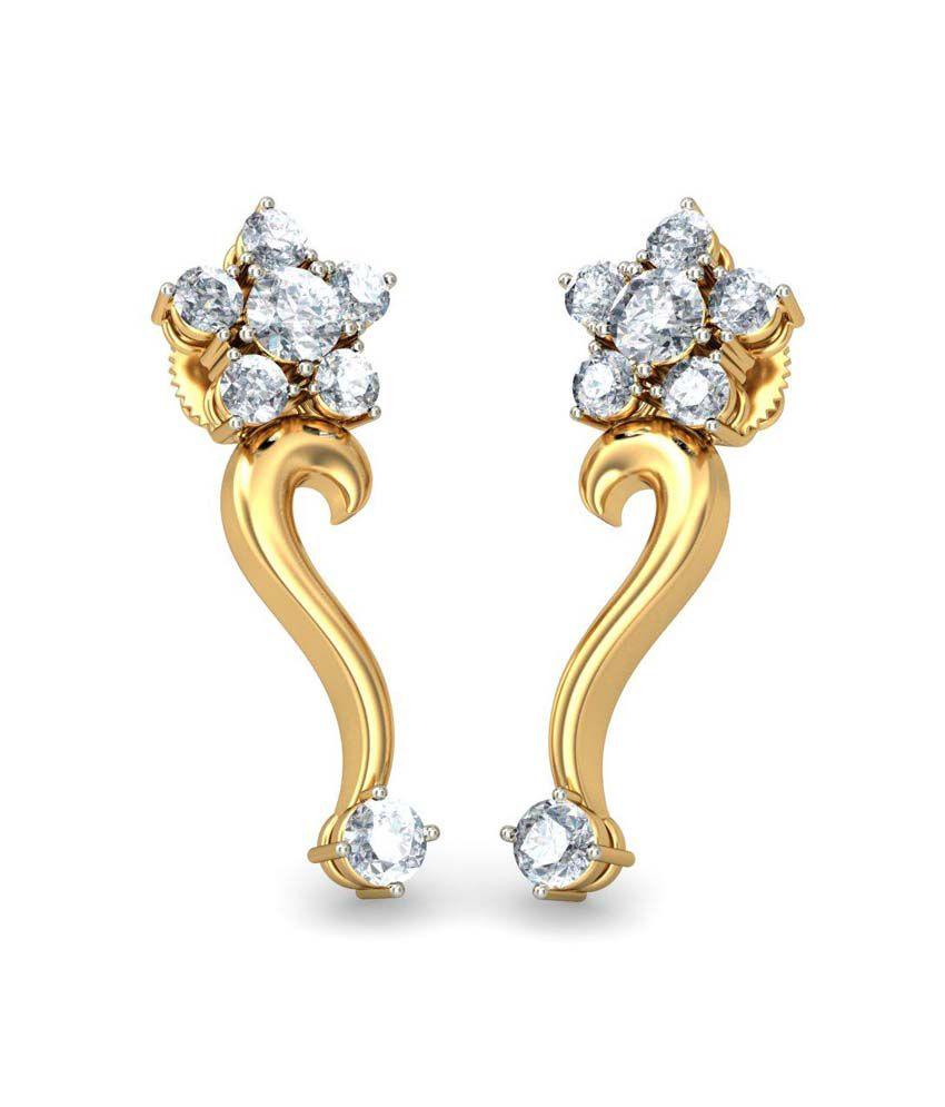 Jewel Berry Angelica Earrings Hallmark 18Kt Gold with Certified SI/IJ Diamonds