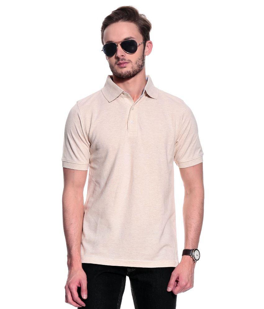 T10 Sports Beige Half  Polo T-Shirt