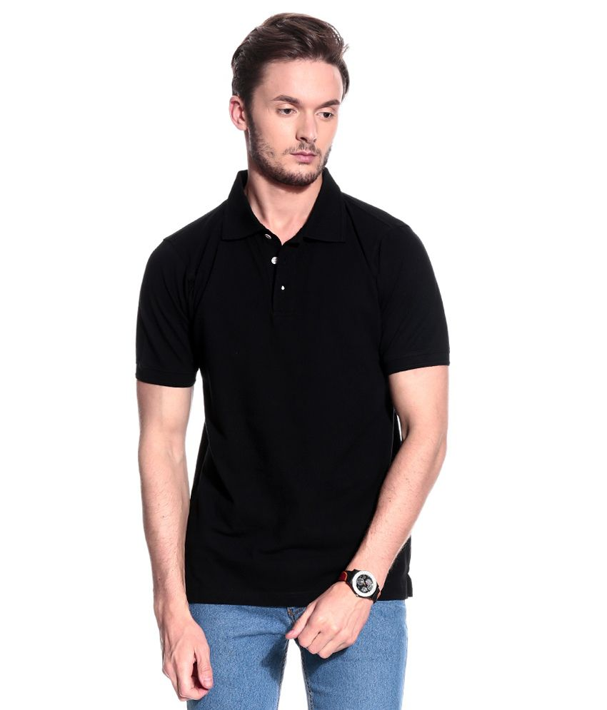 T10 Sports Black Half  Polo T-Shirt