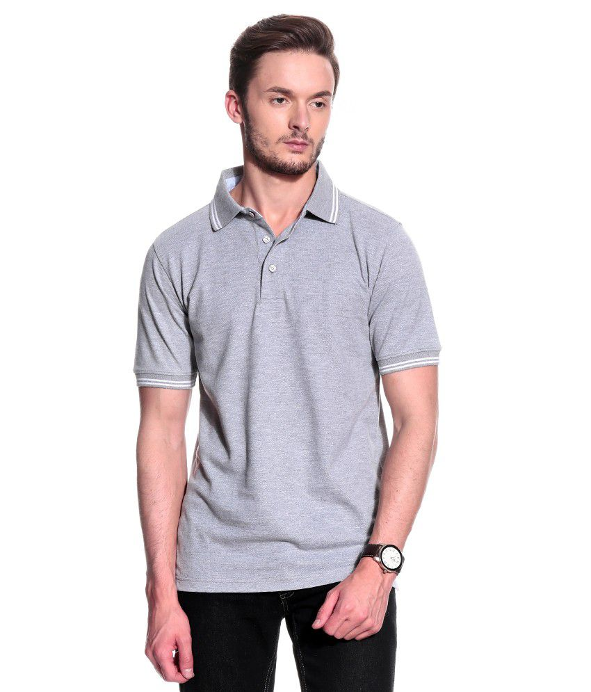 T10 Sports Gray Half  Polo T-Shirt