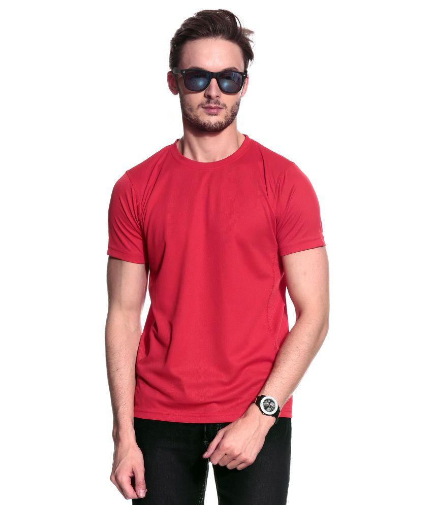 T10 Sports Red Half Polyester Round  T-Shirt