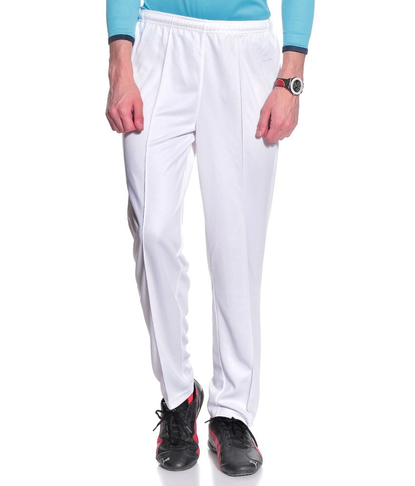 T10 Sports White Polyester Trackpants