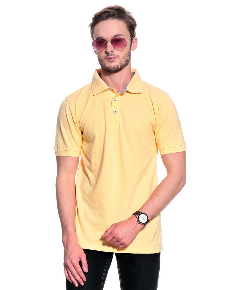 T10 Sports Yellow Half  Polo T-Shirt