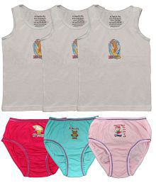 KiwiKids Girl's Vest and Brief - Set of 3