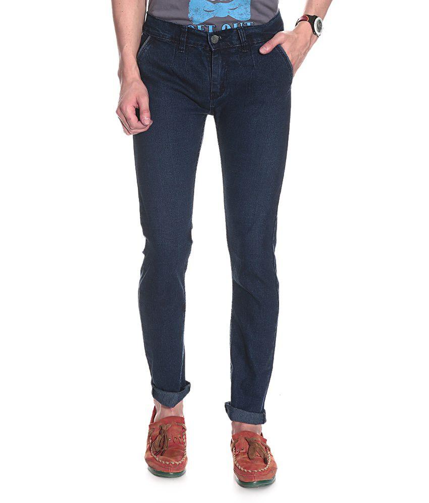 D.Coral Blue Cotton Jeans