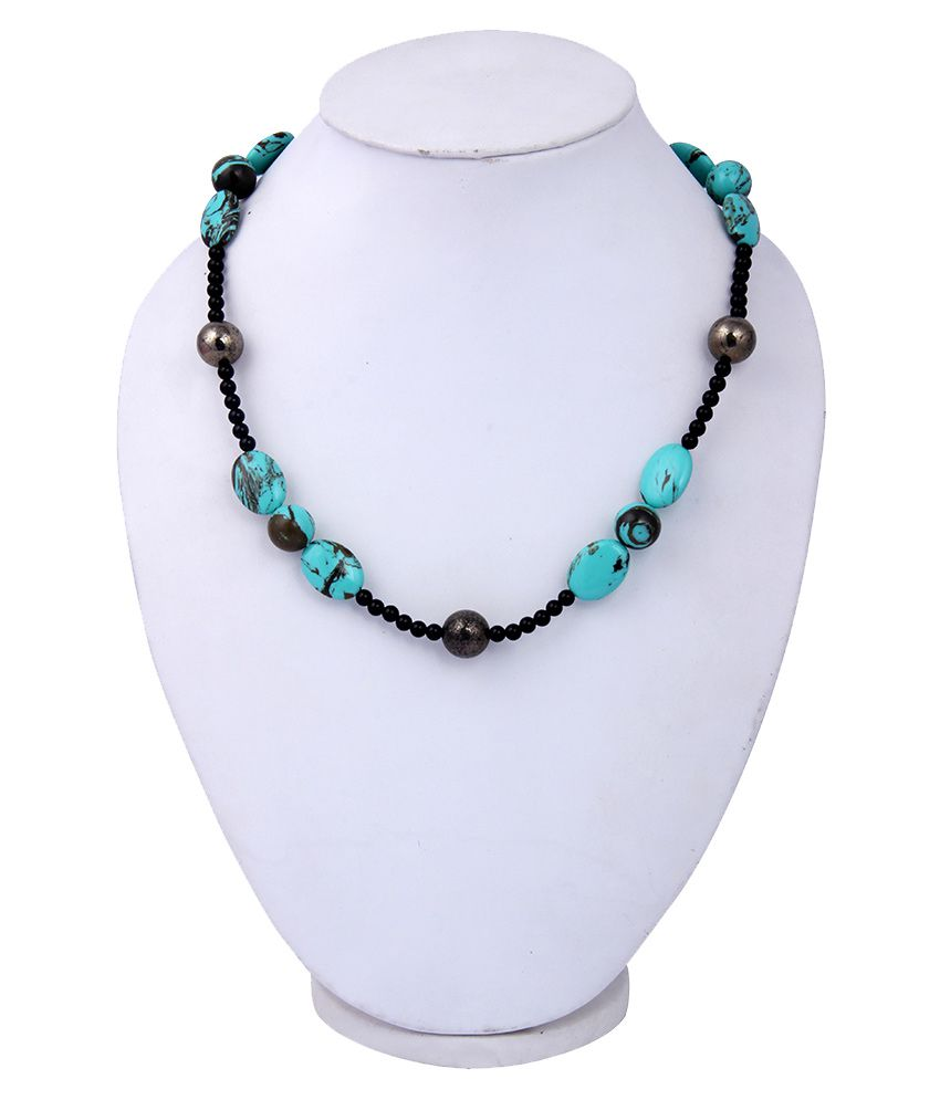 Pearlz Ocean Mosaic,Pyrite & Black Obsidian Gemstone Beads 18 Inches Necklace