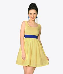 Miss Chase Yellow Cotton Mini Skater Dresses For Women Sleeveless Round Neck Casual Wear