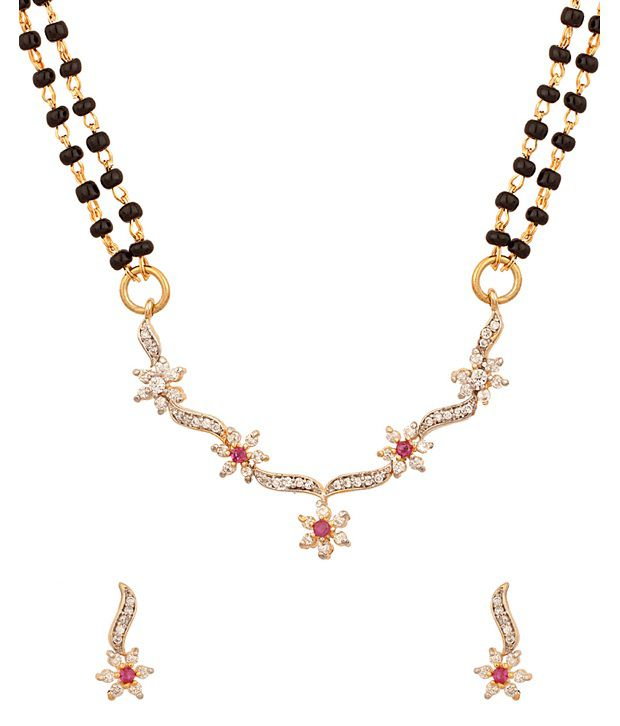 Voylla Pretty Floral Designed Double Chain Mangalsutra